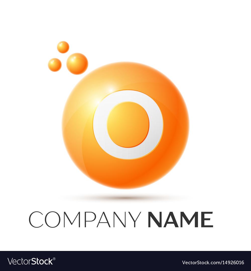 O letter splash orange dots and circle bubble vector image