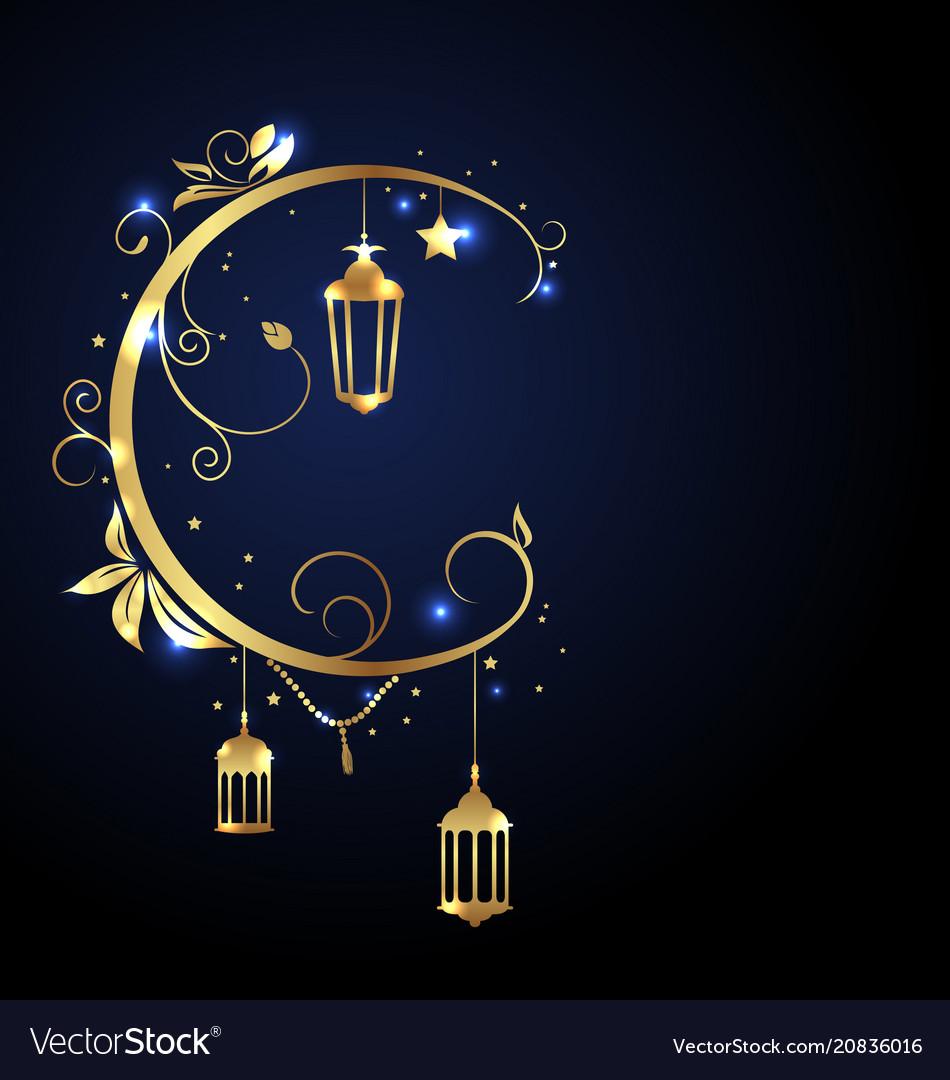 Ornamental islamic design for ramadan kareem moon