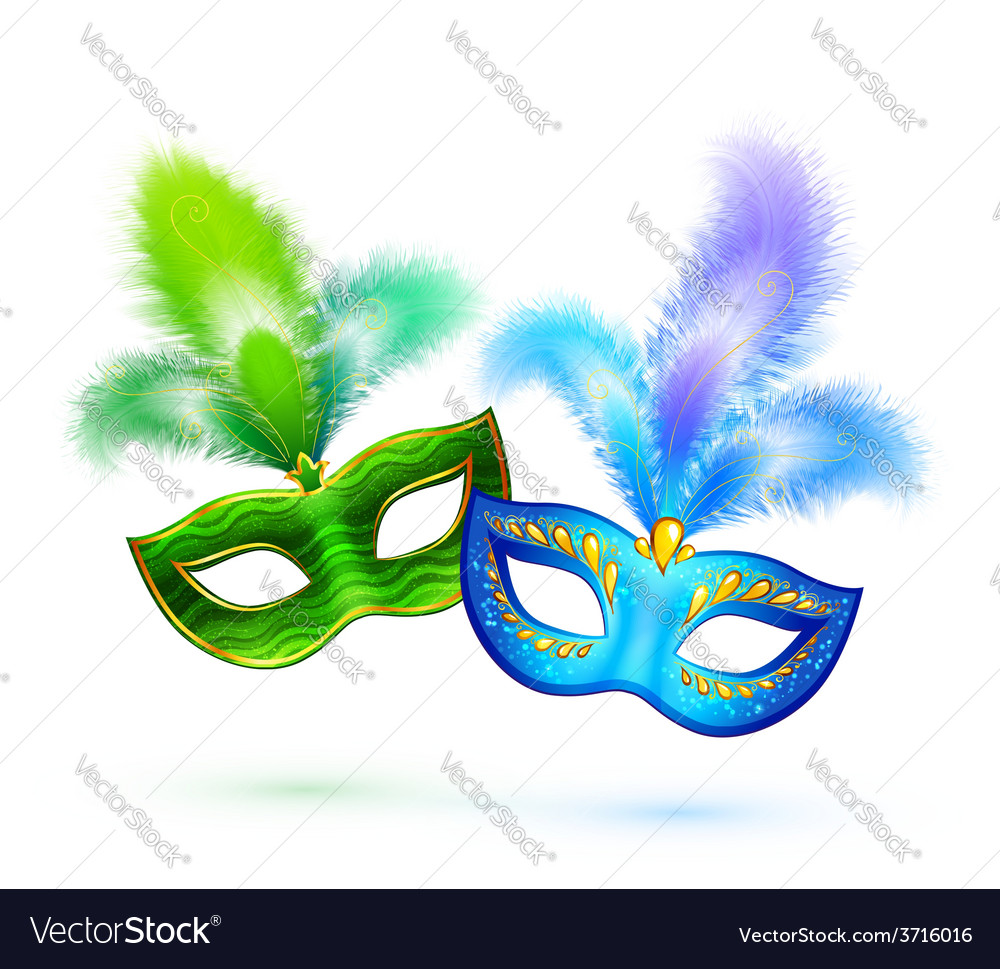 Pair of green and blue masks isolated on