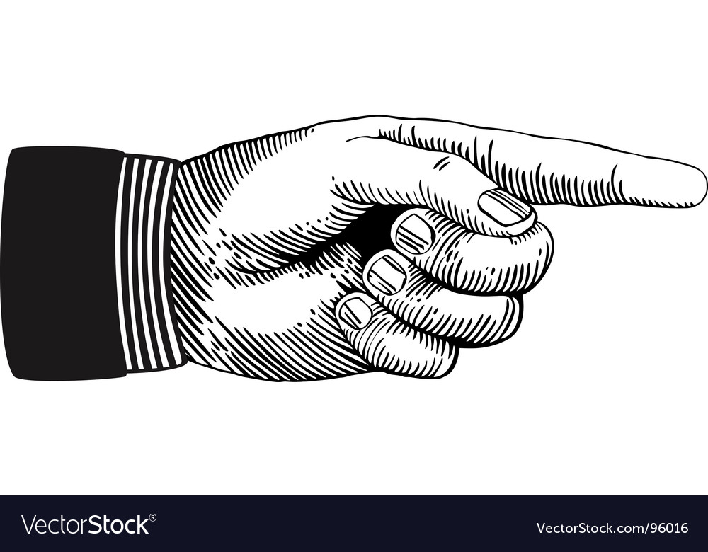 pointing hand royalty free vector image vectorstock rh vectorstock com pointing hand vector image pointing hand you vector