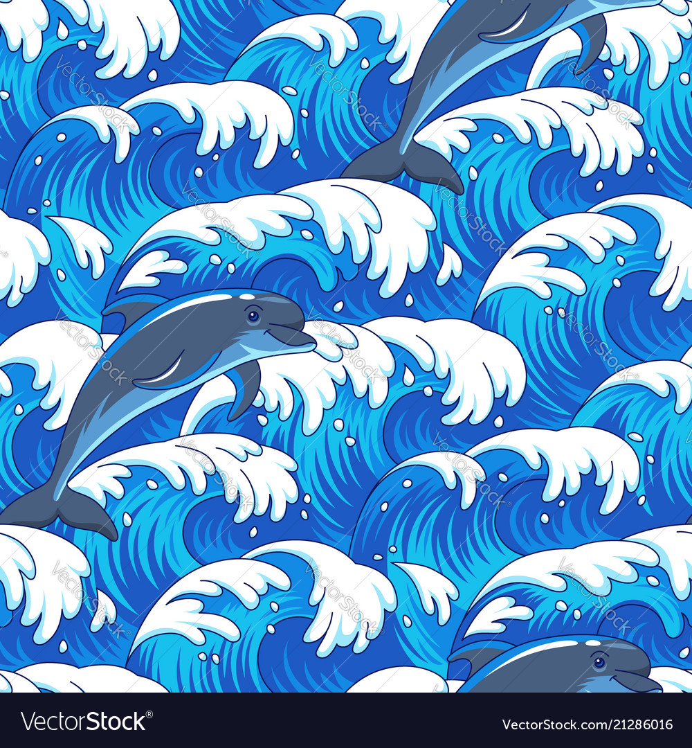 Sea and dolphins pattern