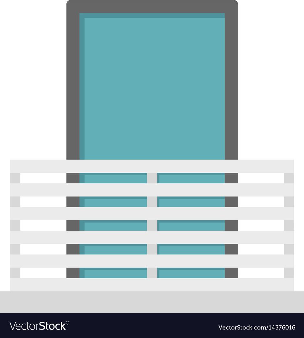 White balcony with window icon isolated