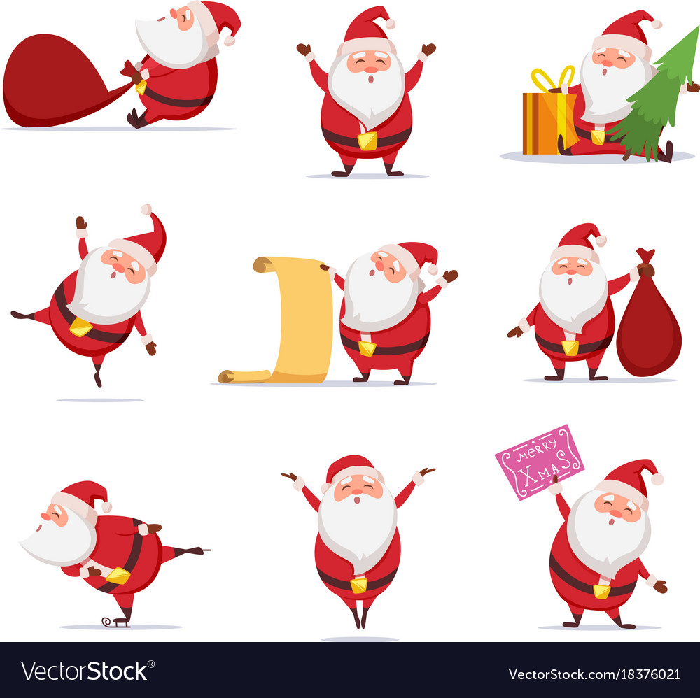 Christmas symbols of funny cute santa different