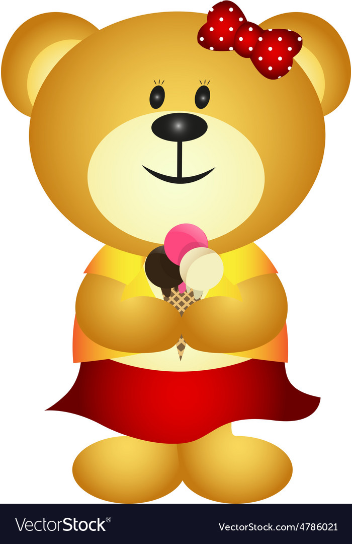 Cute Cartoon Girl Bear Eating Ice Cream