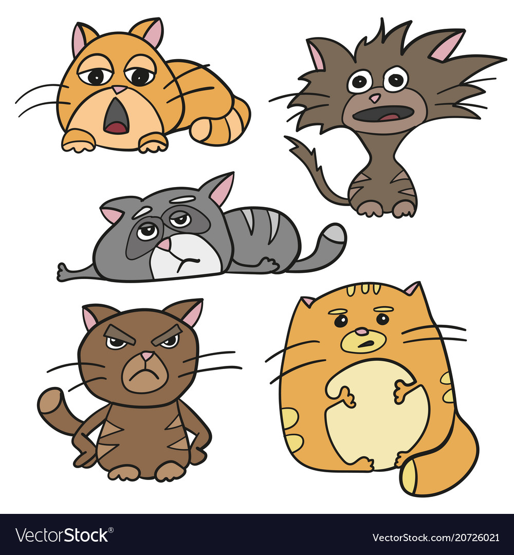 Cute cat characters fat angry sleepy crazy sad vector image