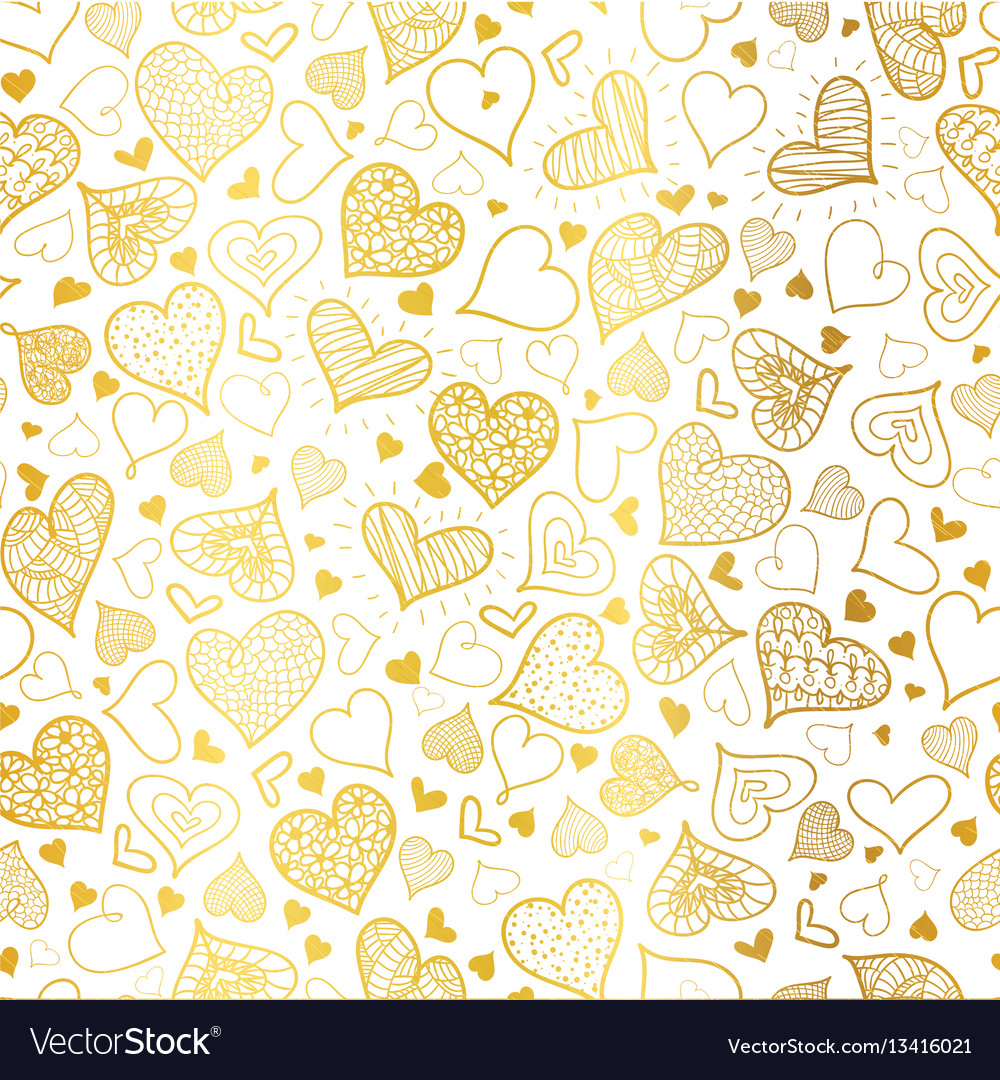 Golden doodle hearts seamless pattern