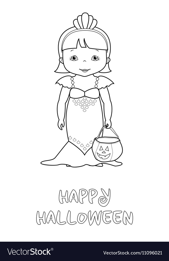 Happy Halloween Coloring Page With Cute Mermaid Vector Imagerhvectorstock: Happy Halloween Coloring Pages Pdf At Baymontmadison.com