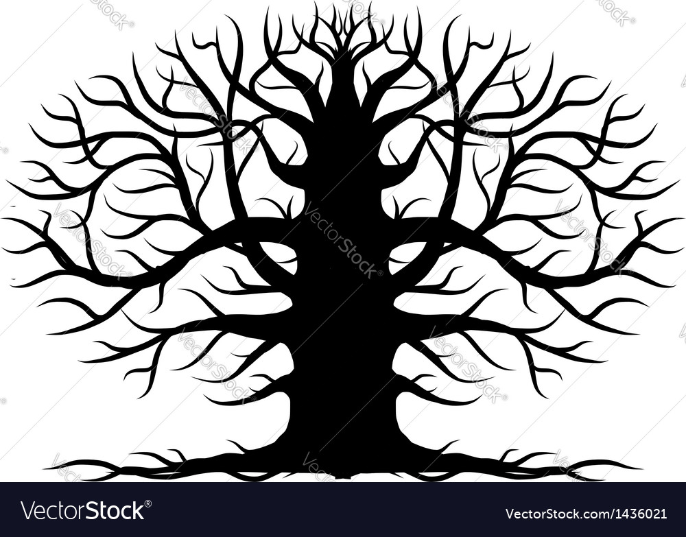 Old tree bare silhouette for your design