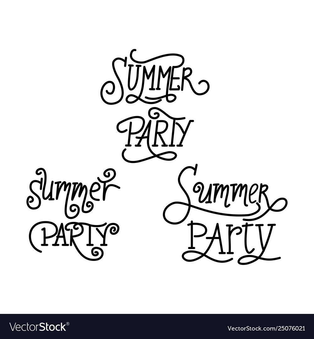 Summer party script text design template