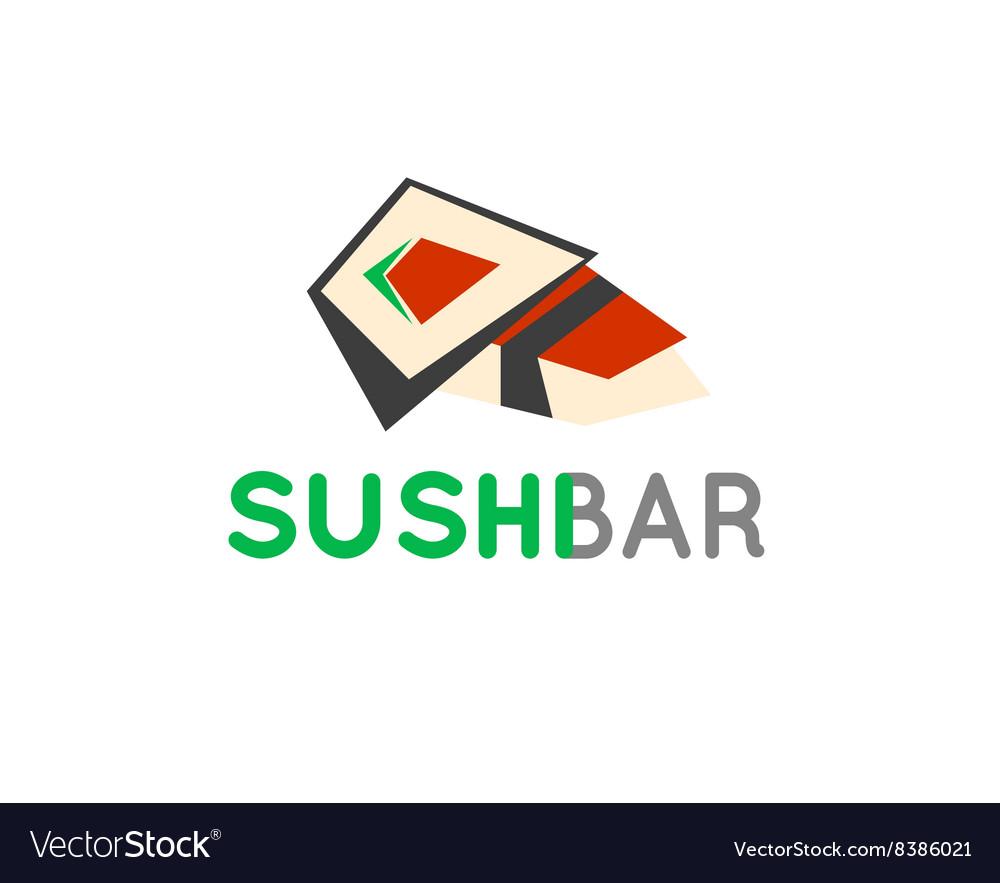 Sushi cafe or sushi bar logo Sushi with fresh tuna