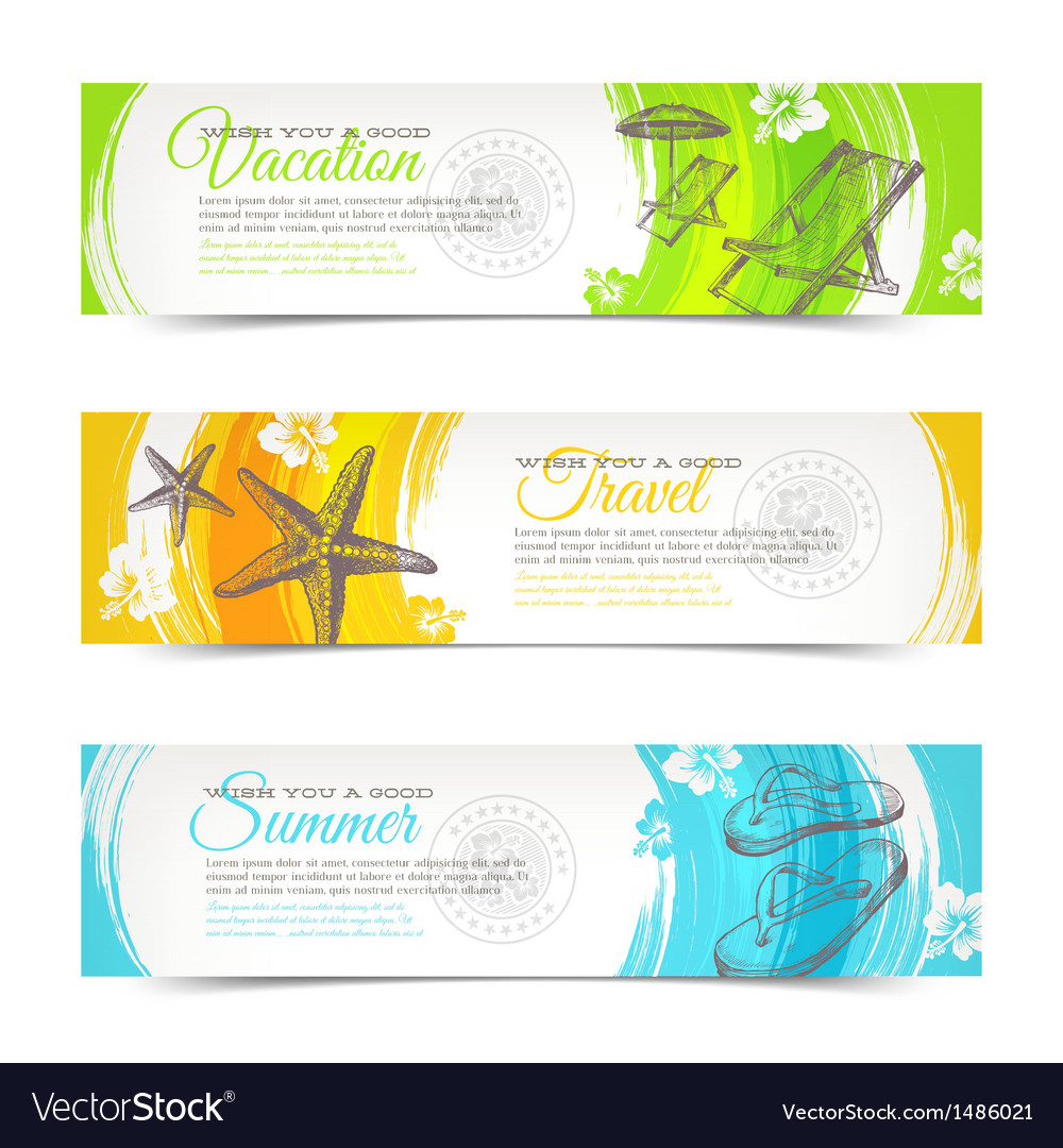 Travel and vacation hand drawn banners vector image