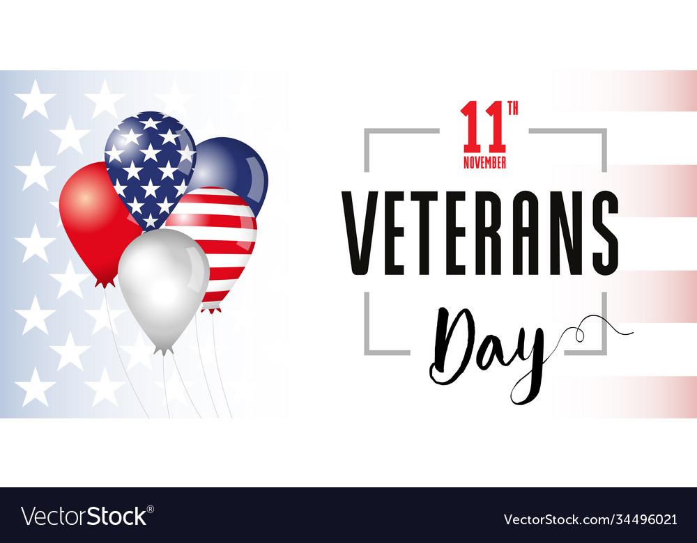 Veterans day usa flag balloons banner