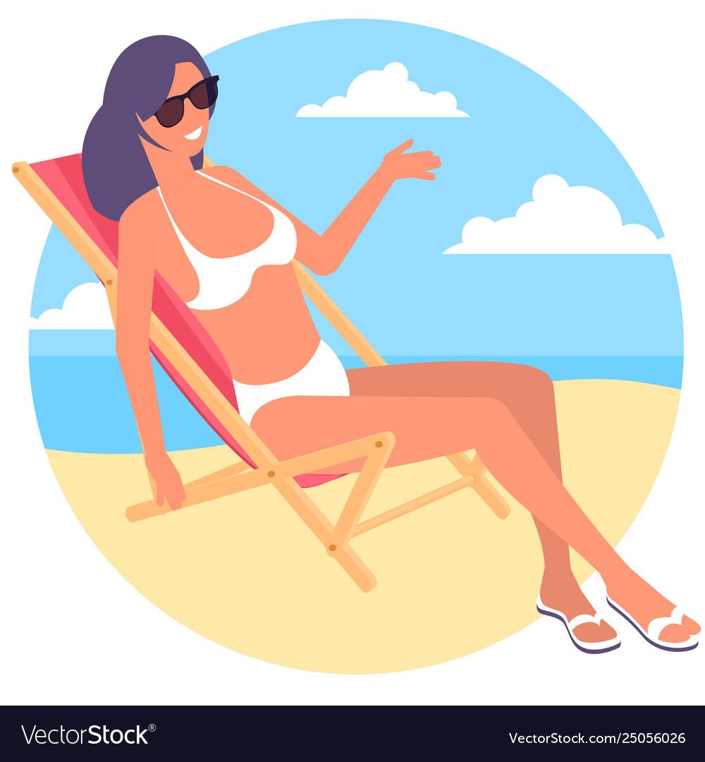 Beach chair at seaside