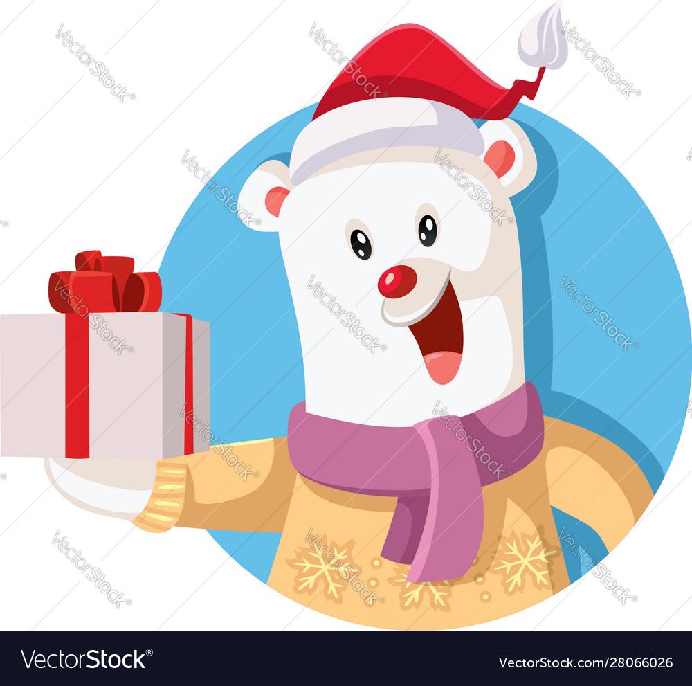 Cute polar bear holding christmas gift