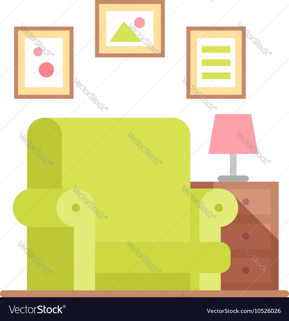 Flat armchair in colorful cartoon style