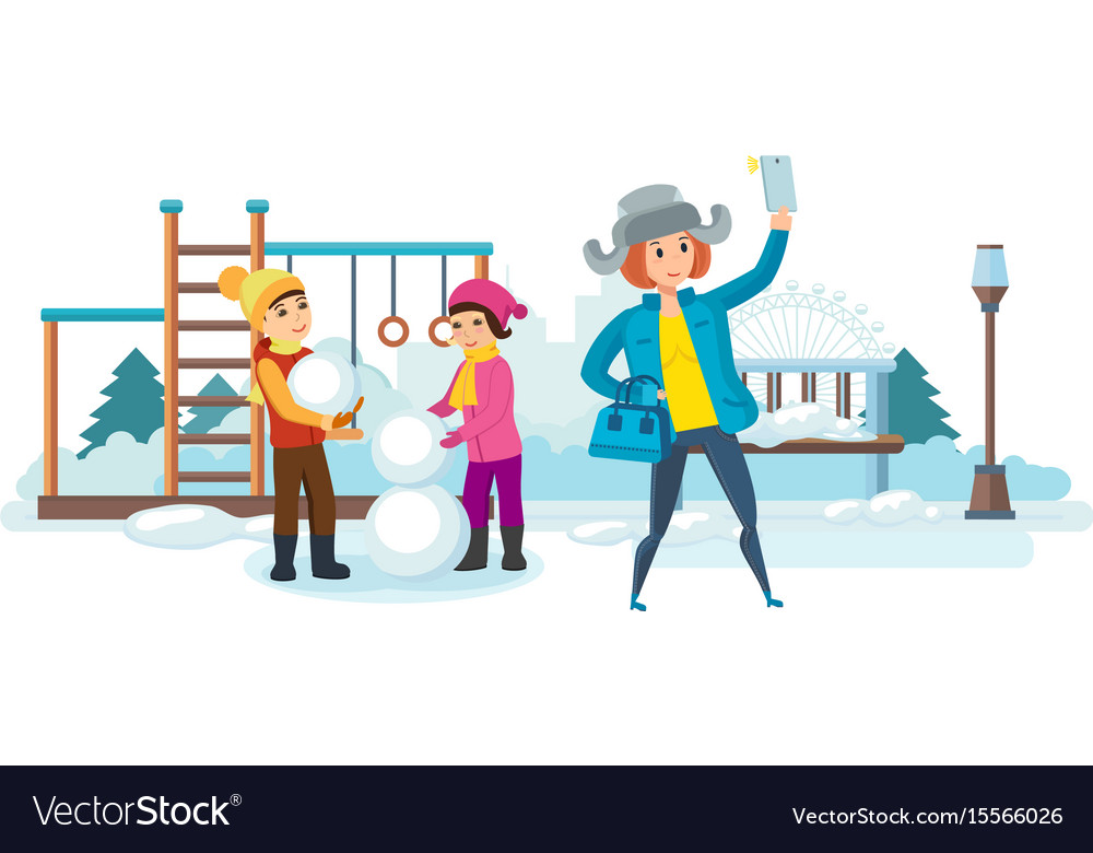 Girl with phone in hand making selfie with kids vector image