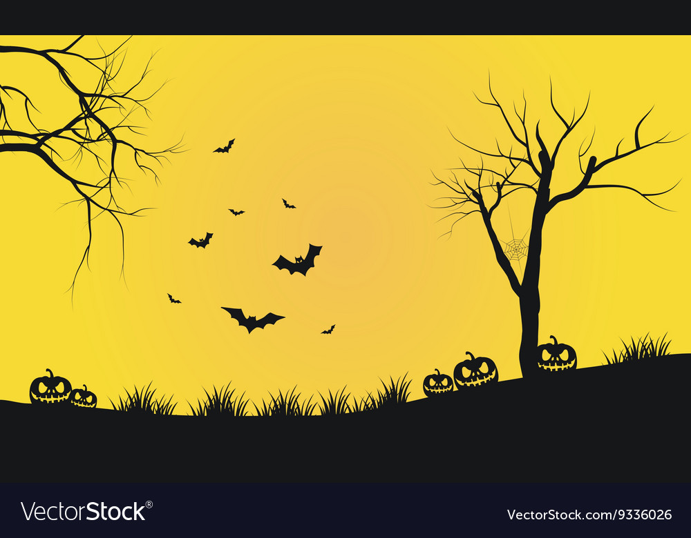 Halloween yellow backgrounds silhouette