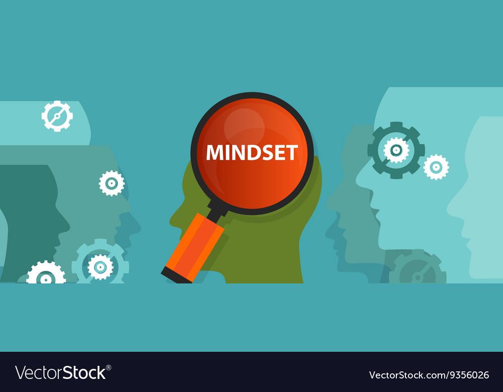 Mindset positive inside people brain mental vector image