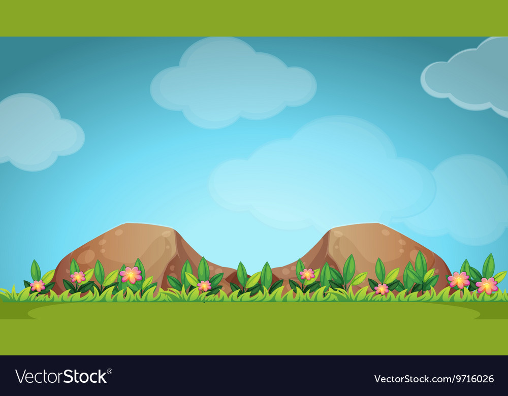 Nature scene with flower and field vector image