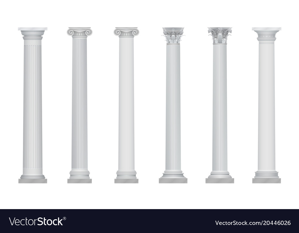 Realistic ancient greek rome column vector image