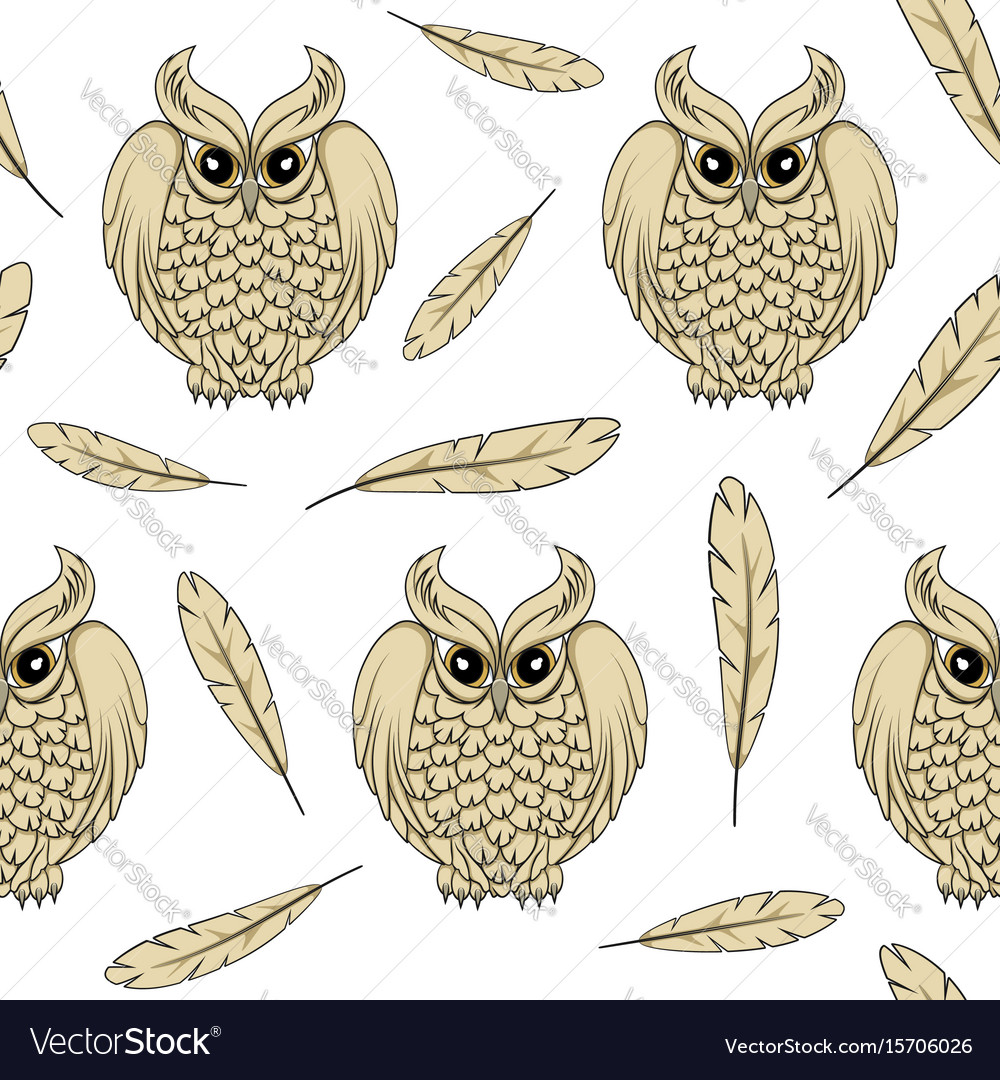 Seamless pattern with owls and feathers