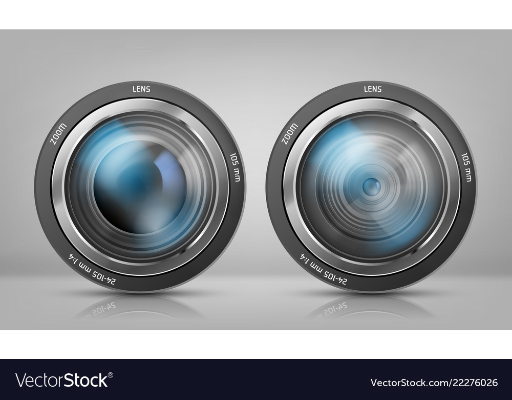 Set with camera lenses zoom objectives