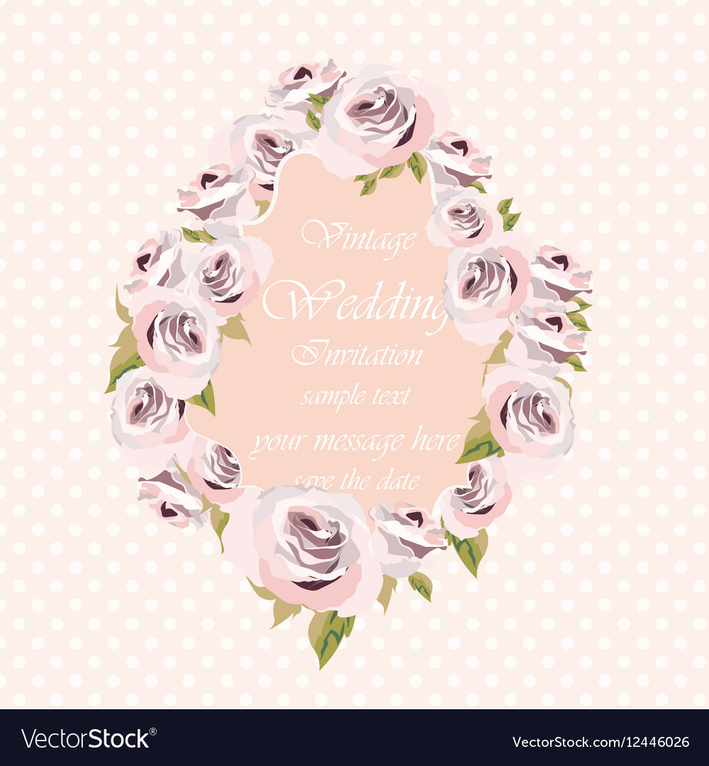 Watercolor pink Roses Flowers frame