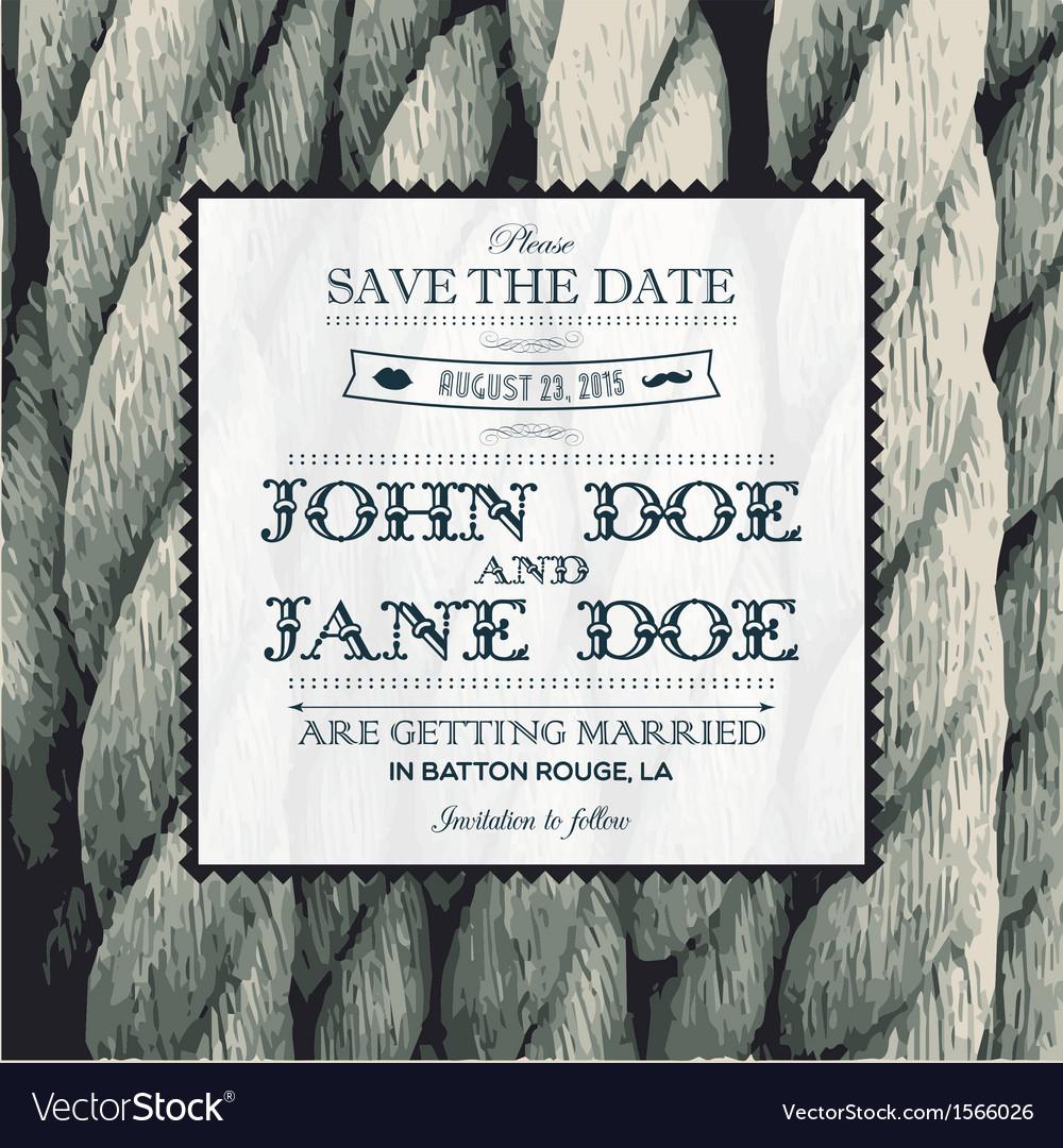 Wedding invitation rope vector image