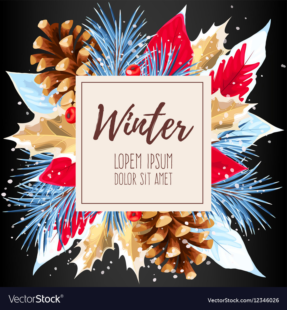Winter card with poincettia