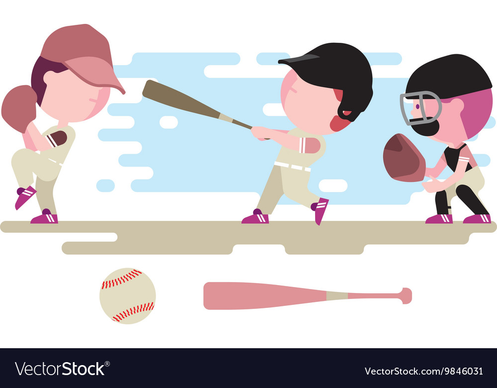 Baseball kids character set