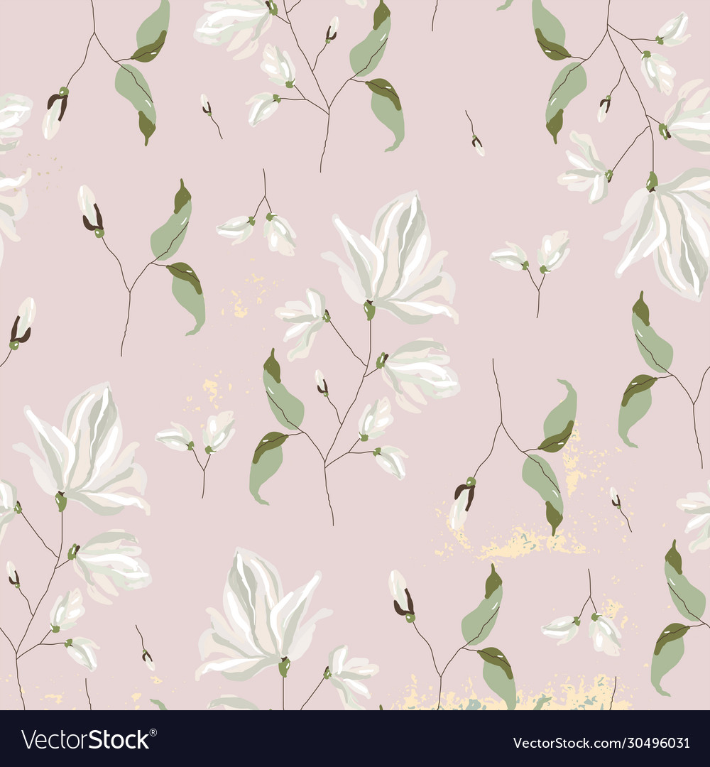 Chic magnolia floral pattern on blush pink