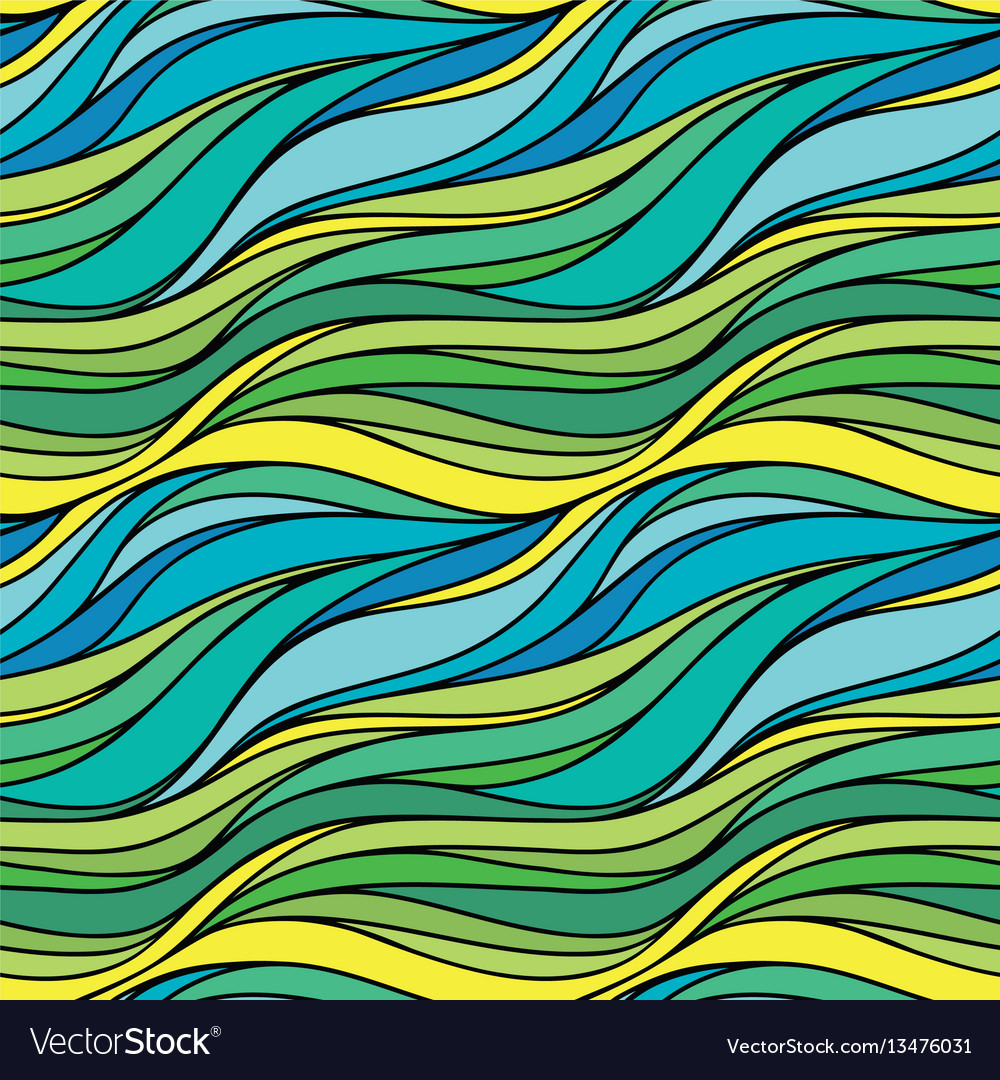 Color hand-drawing seamless wave sea background