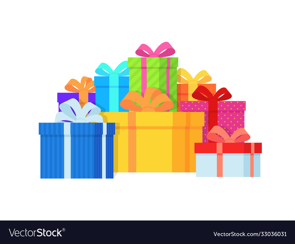 Gift box pile color gift boxes