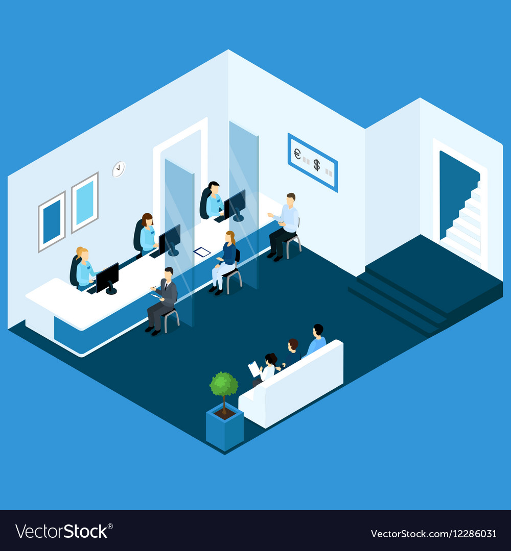 Isometric Office Banking Composition vector image