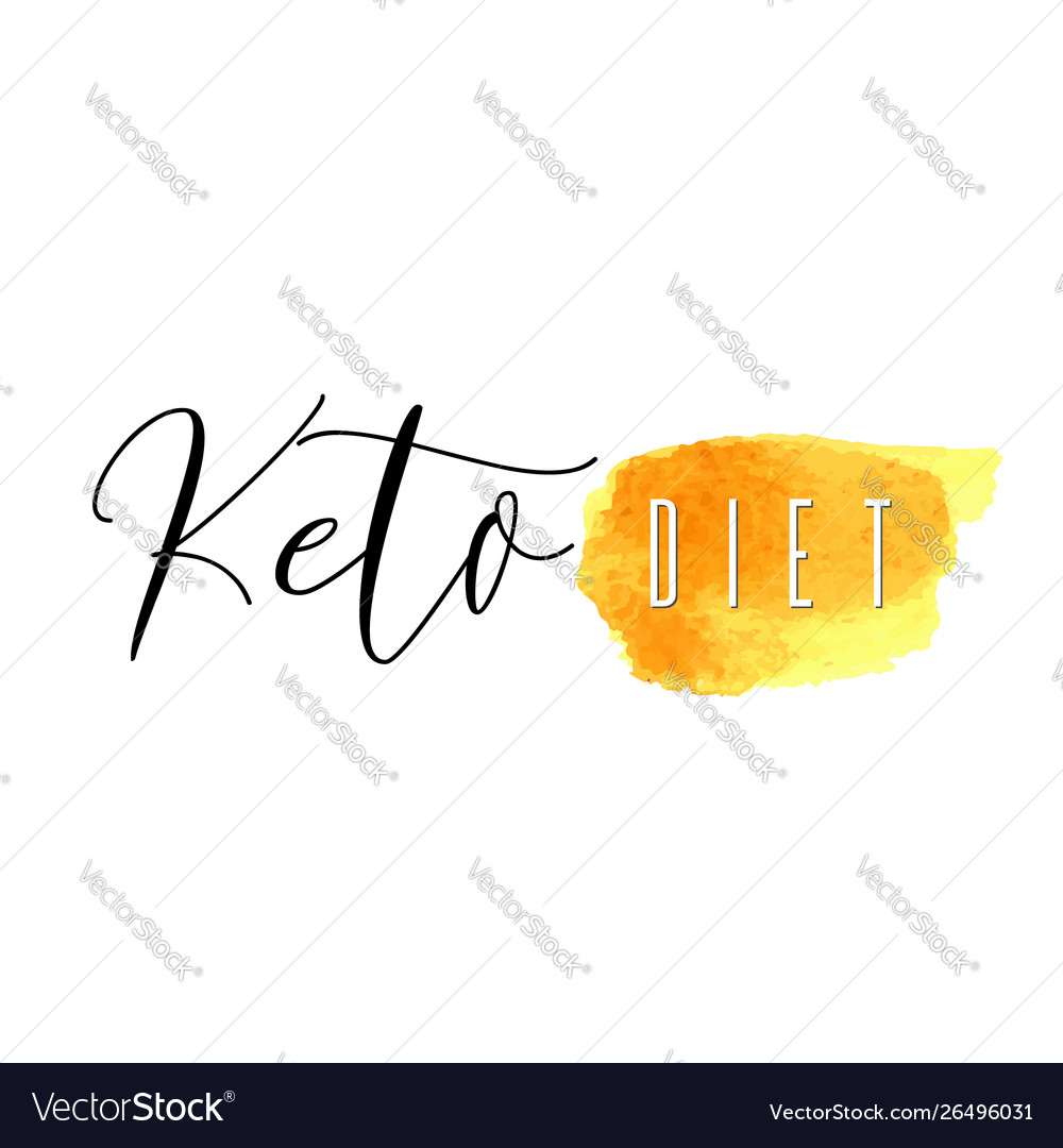 Keto diet lettering on hand paint yellow