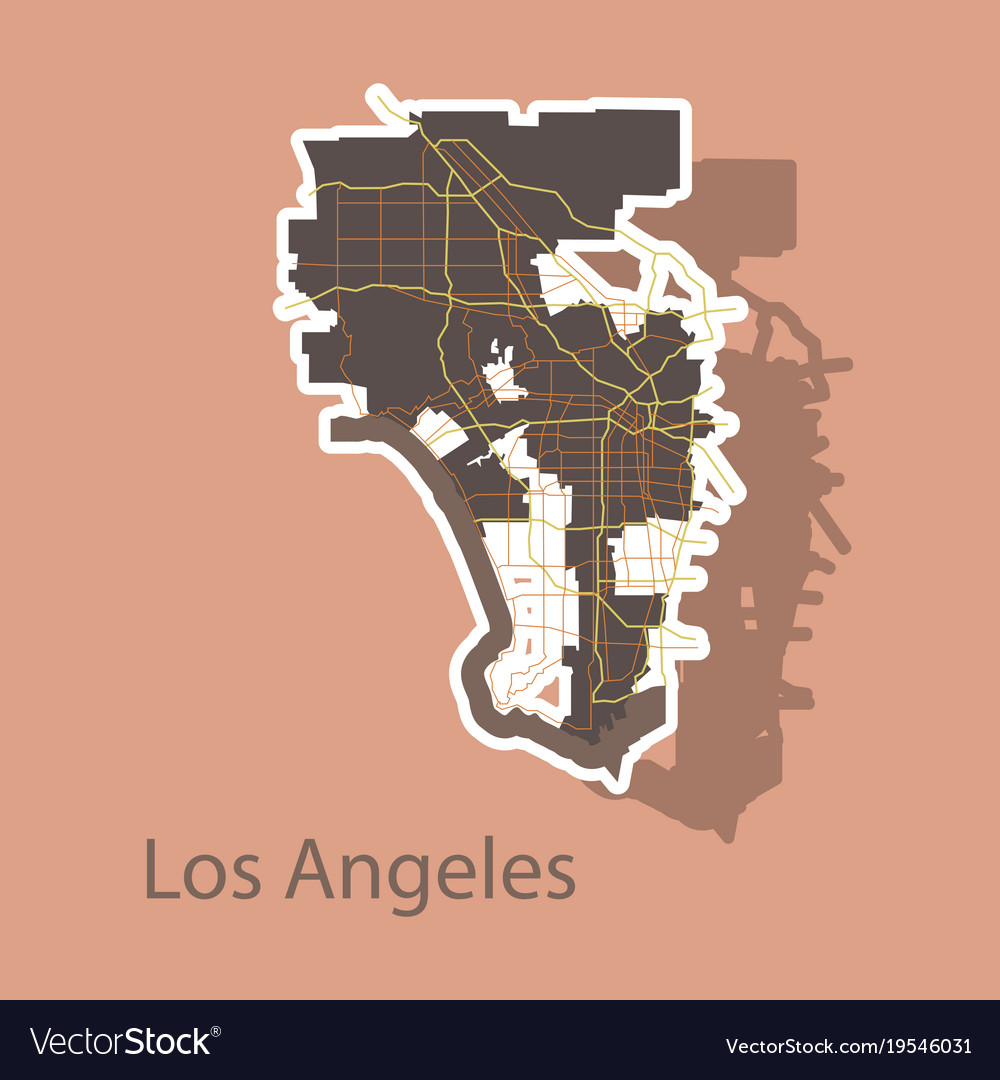 Los angeles map flat style design - sticker