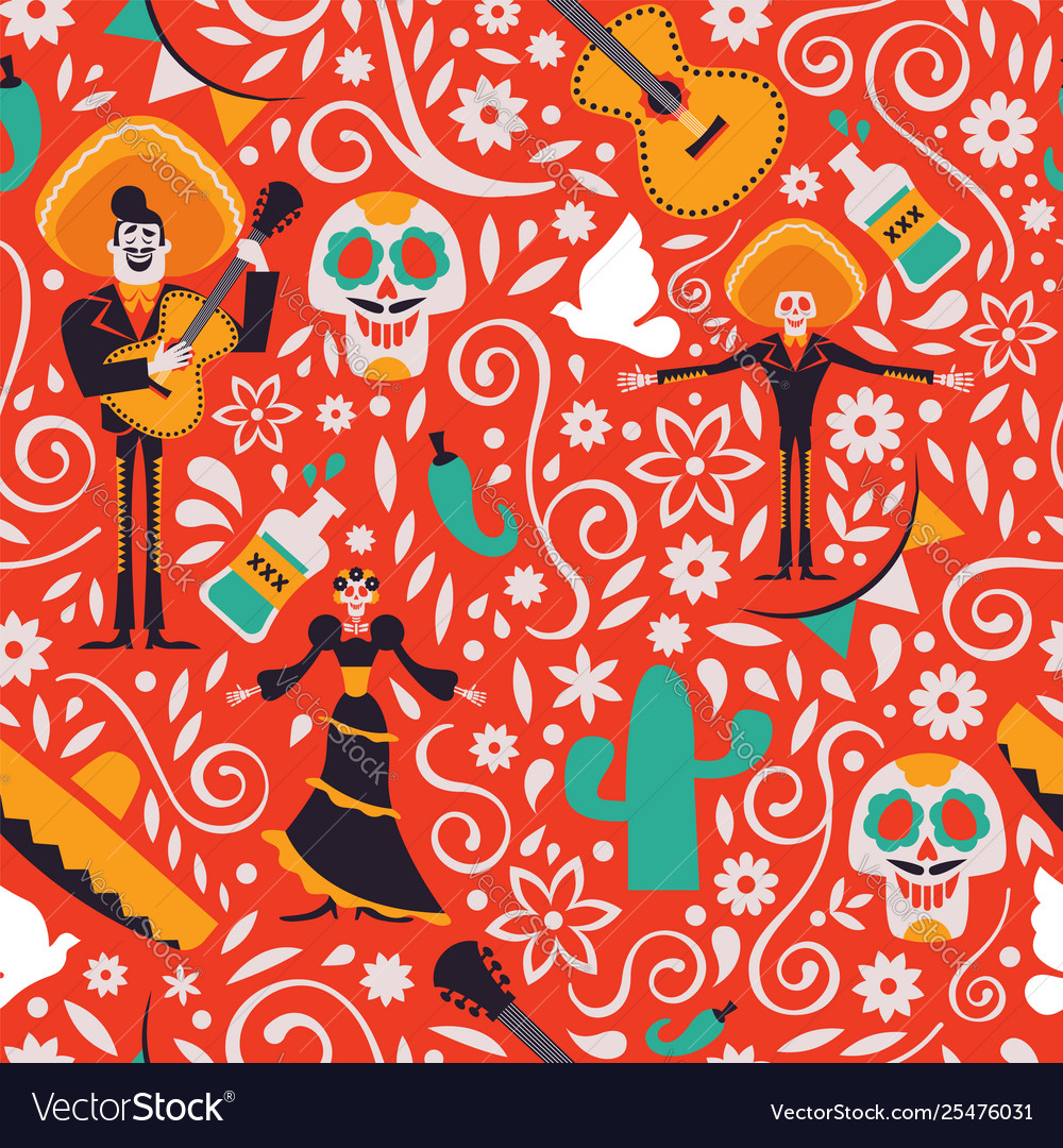 Mexico culture seamless pattern background