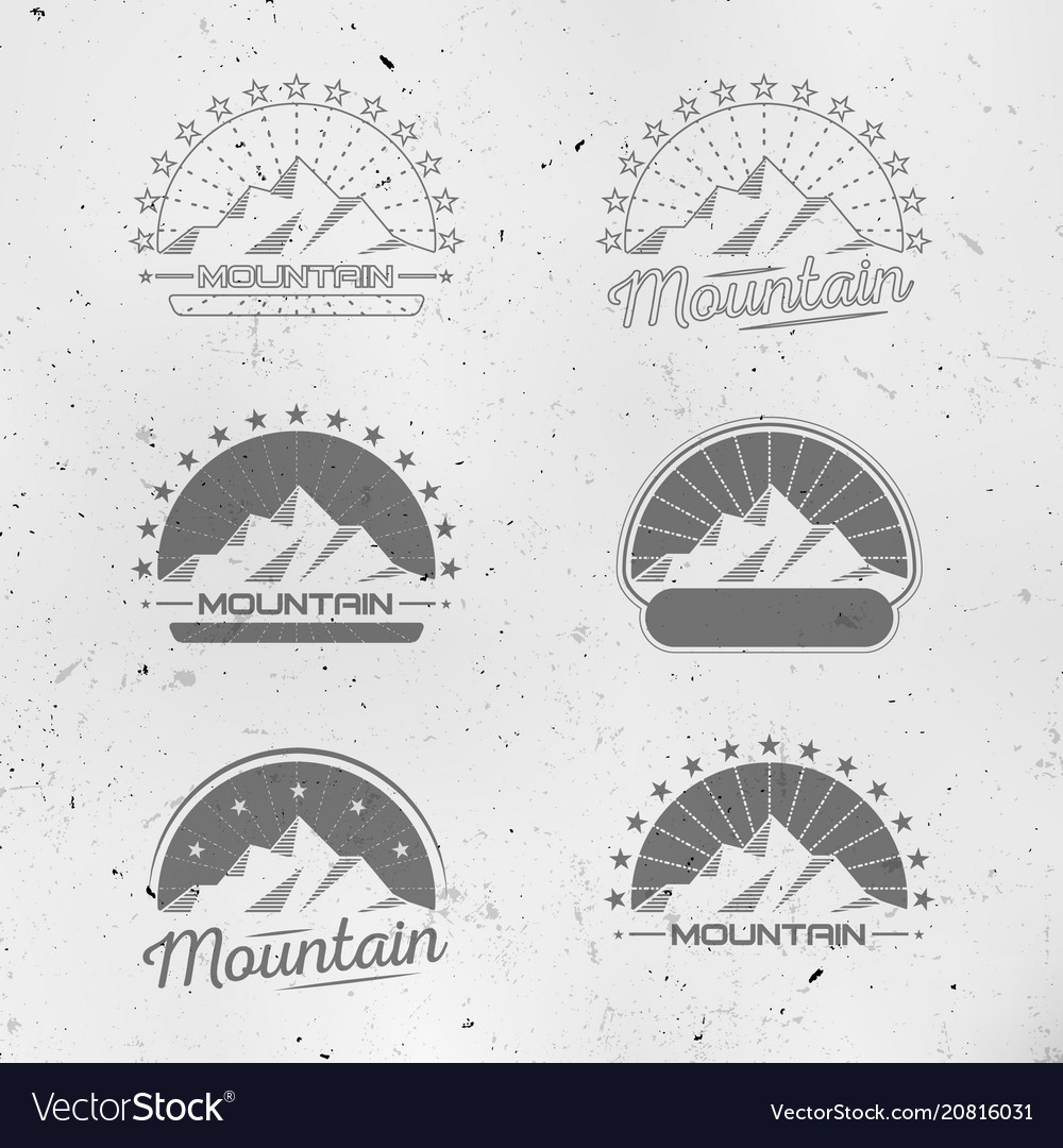 Mountains logo set vintage design collection