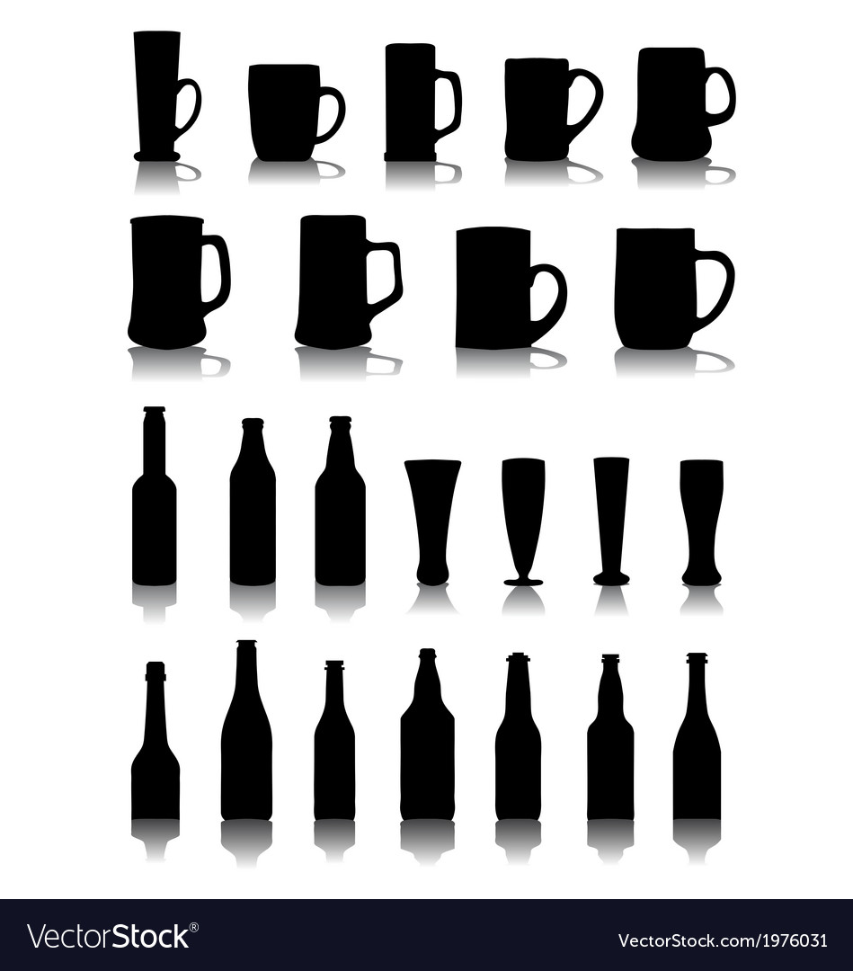 Mugs and glasses of beer vector image