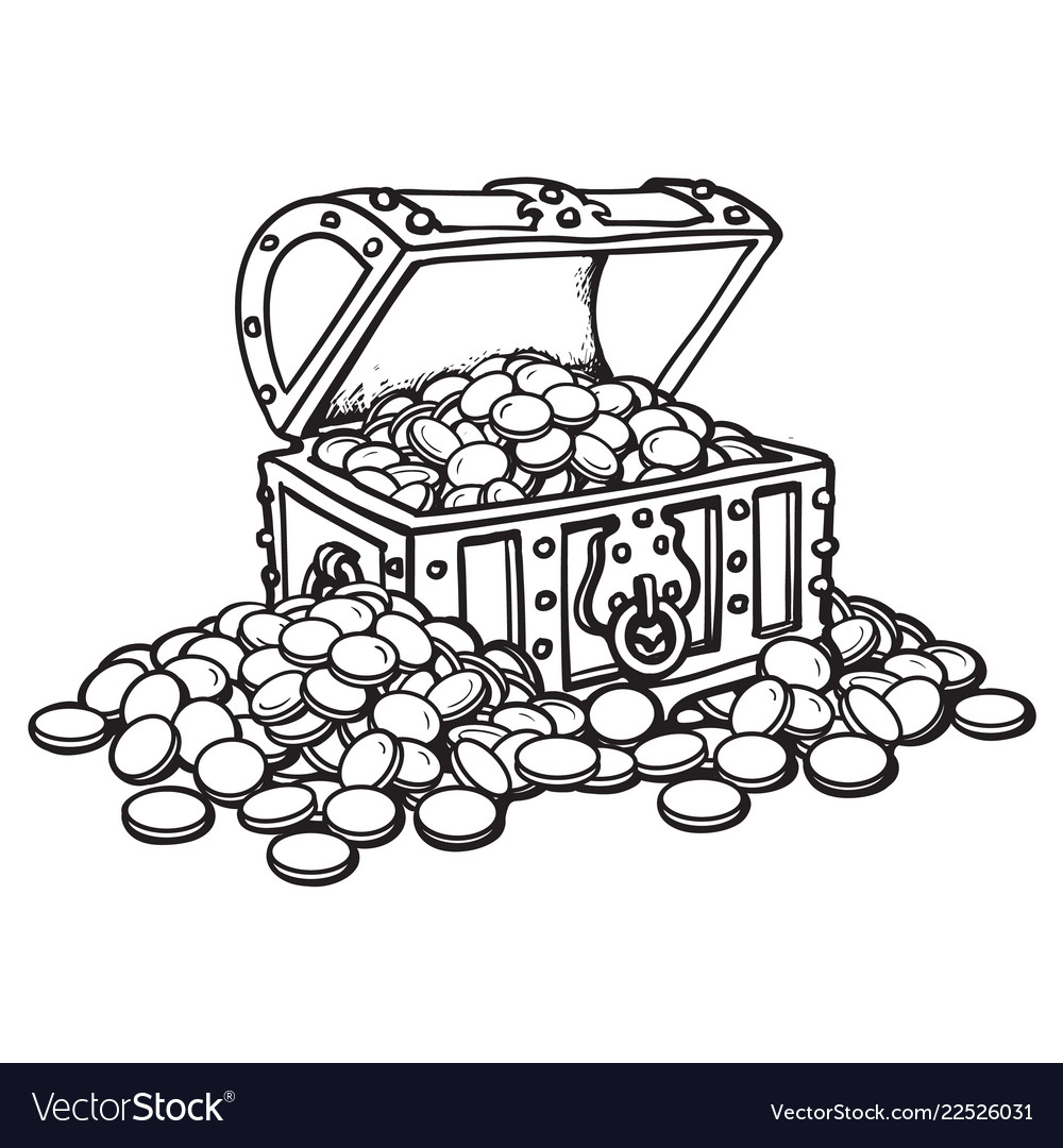 Old chest with coins piles of coins around black