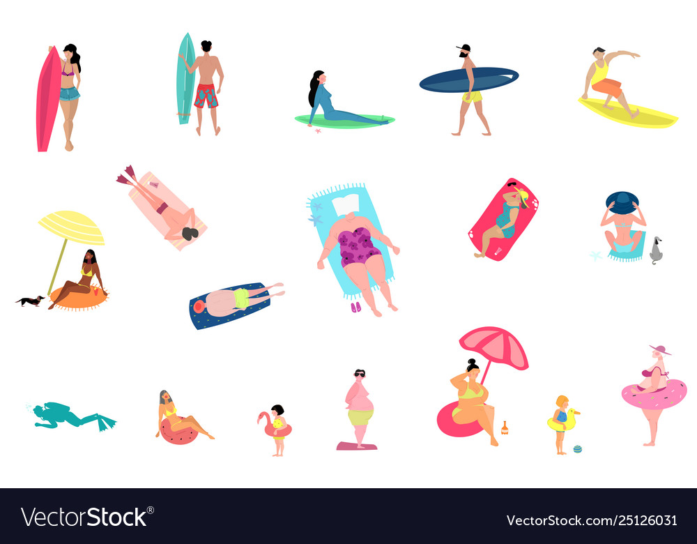 People activities at summer beach set isolated on
