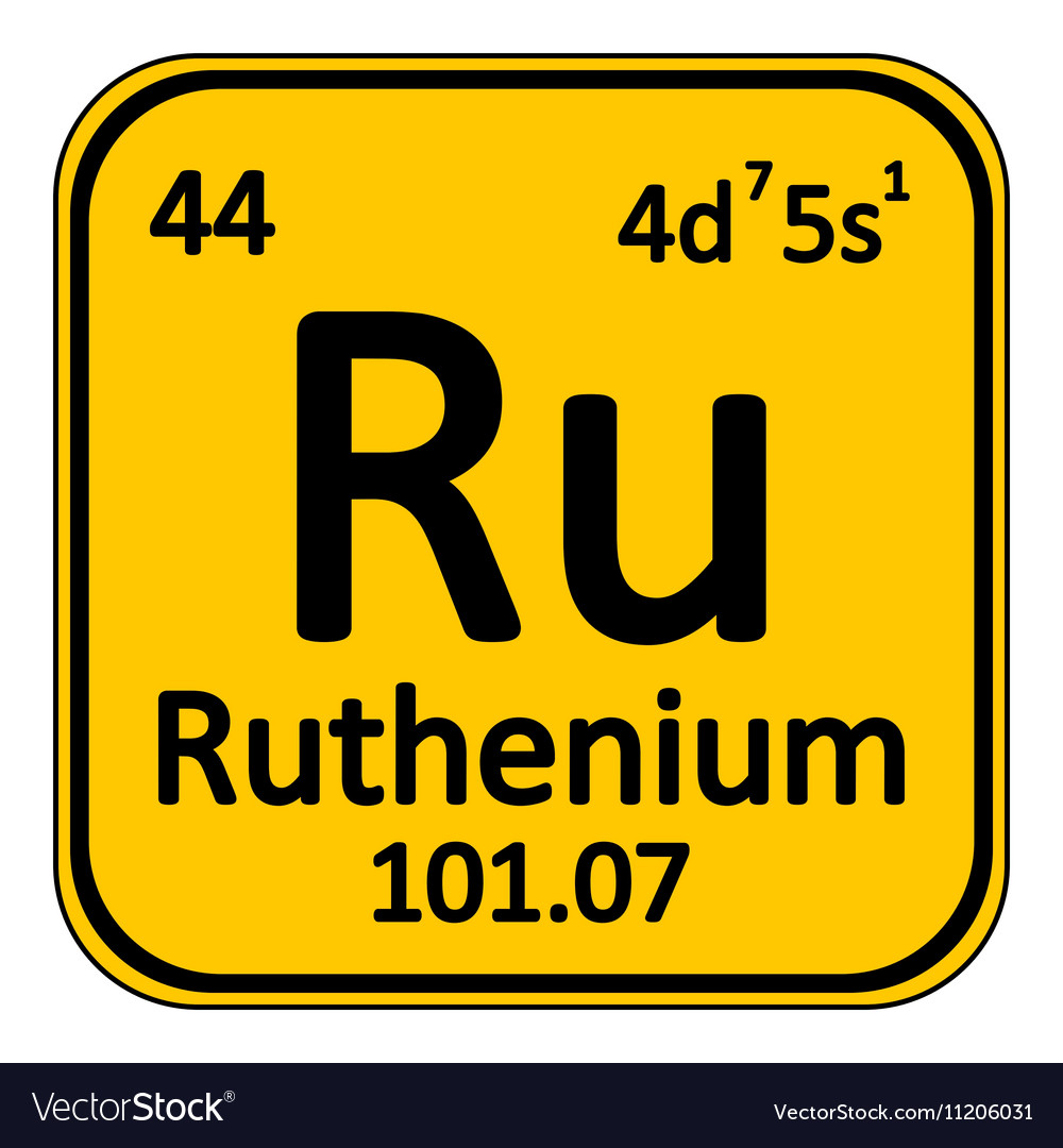 Periodic Table Element Ruthenium Icon Royalty Free Vector