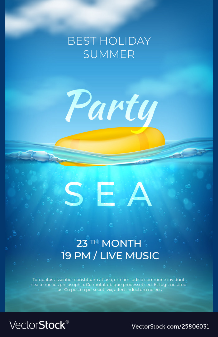 Realistic summer poster sea underwater pool party