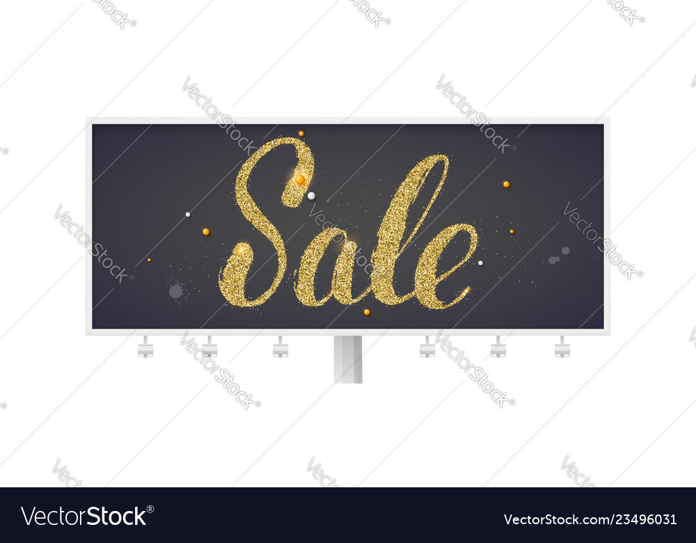 Sale billboard with calligraphic lettering