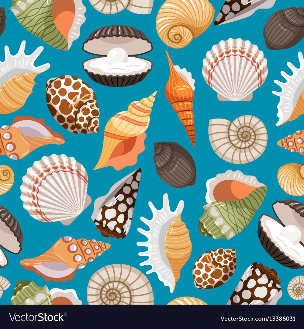 Travel background with sea shells