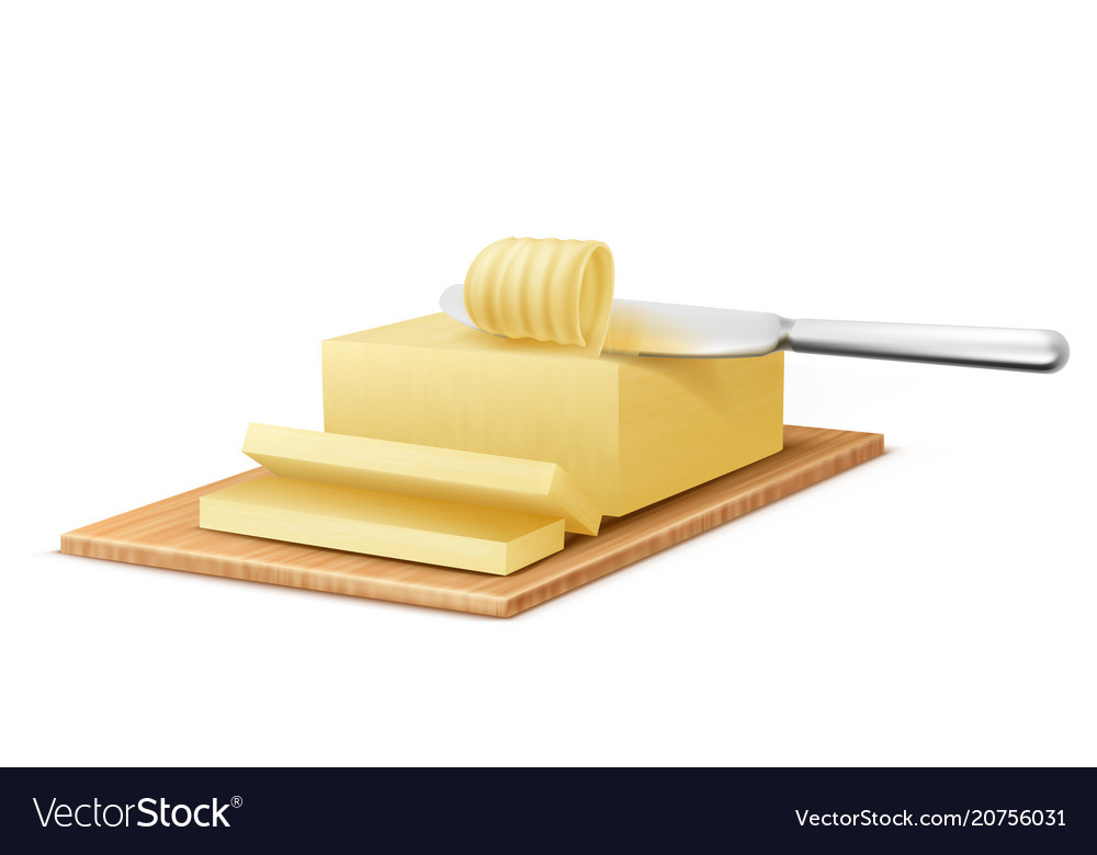 Yellow stick of butter with metal knife