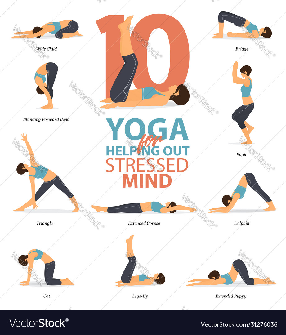 10 Yoga Poses For Your Mind Royalty Free Vector Image