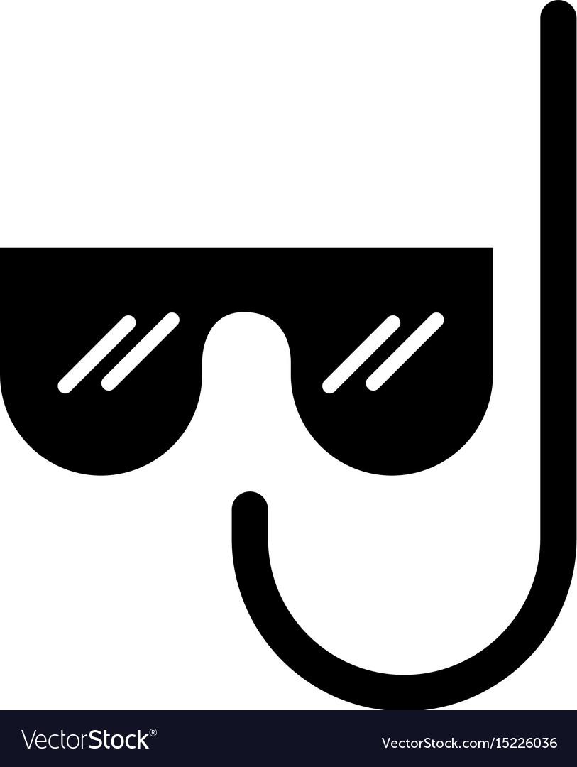 Black icon mask and snorkel cartoon vector image
