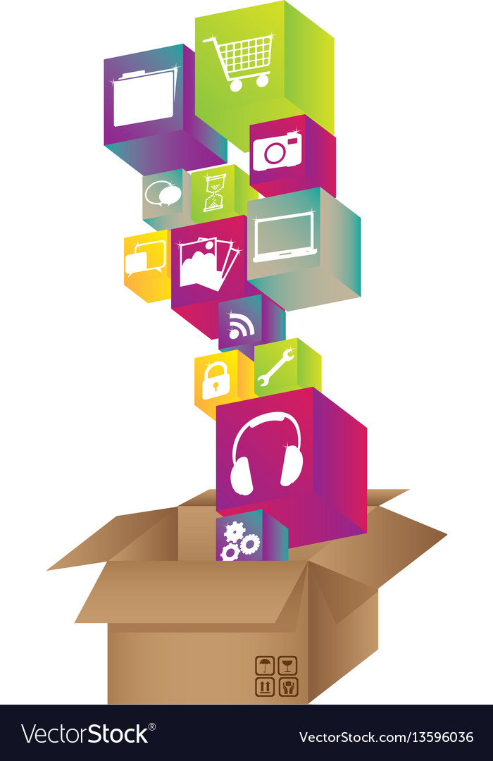 Box with color symbols icon