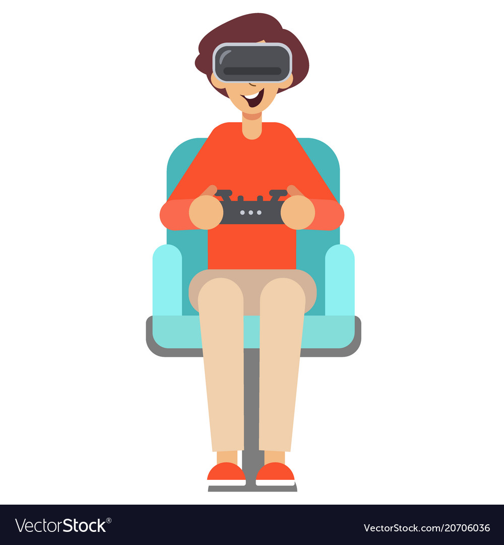 Boy with game controller gamepad in virtual